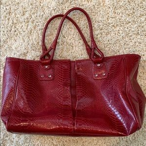 Large Red Leather Tote. Travel bag. Vacation